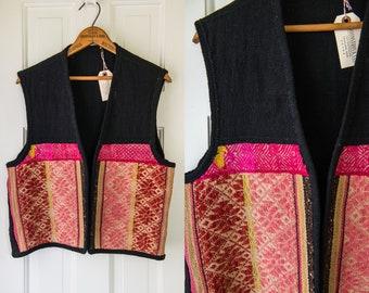 Vintage world marketplace style peruvian burlap vest | boho hippie vibe | Size M