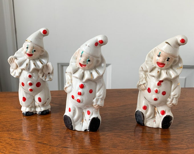 Collection of 3 vintage ceramic clown figurines | gift for clown collector | collectible circus clown