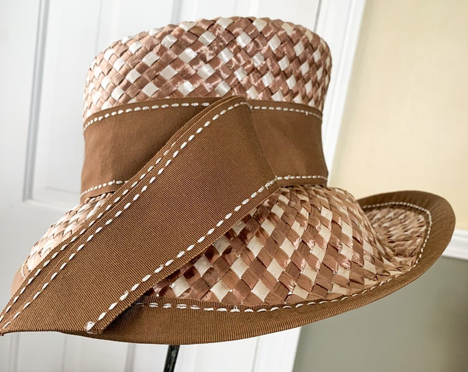 Vintage 1950s stylish straw hat in brown and beige with wide brown ribbon | vintage party hat | the May Company | Size M