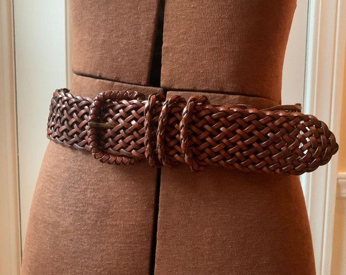 Vintage woven brown leather belt Sz 30