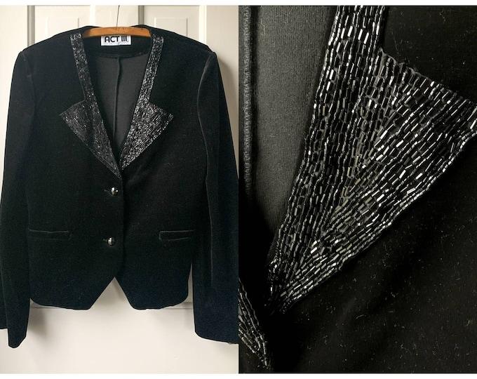 VTG 70s black velvet jacket blazer with beaded lapel Sz M