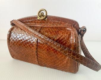 Vintage 1940s small brown leather snap closure handbag or evening bag