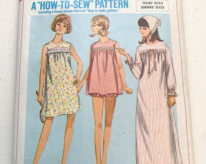 Vintage 1966 Simplicity sewing pattern 6757 teens and juniors nightgown, pajamas and scarf   Simplicity How To Sew series   Size 13
