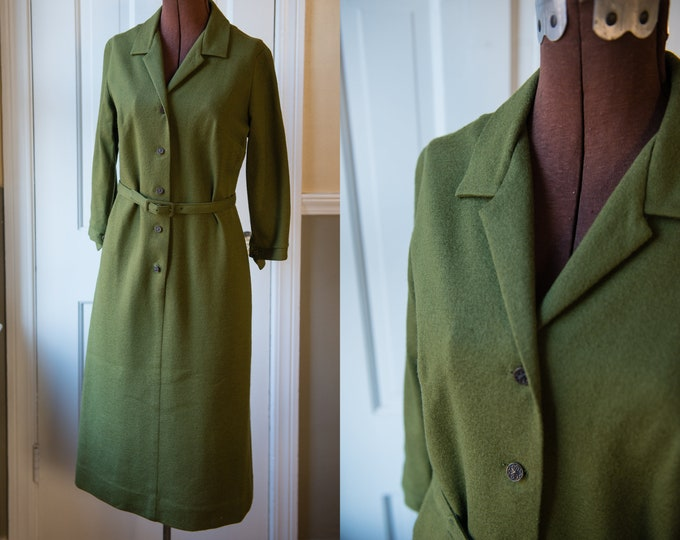 Vintage 1960s avocado green knit button down office dress | Trends by Jerrie Lurie | Size S