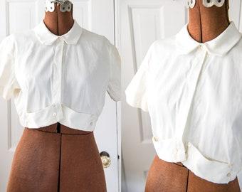 Vintage 50s white cotton short sleeve cropped bolero style jacket, Saka, Sz S