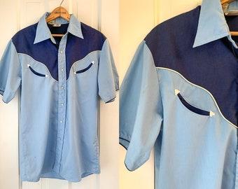 Vintage 1970s blue short sleeve western shirt made by Alfie California, 70s western wear, vintage cowboy fashion, Size M