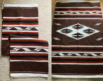 "Hand-Woven Southwestern Navajo style rug or saddle blanket, boho decor rug, rustic cabin decor, 50"" x 83"""