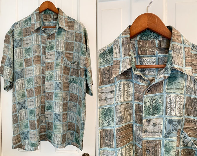 Vintage silk men's short sleeve button down shirt in muted tones and mod print, Silk Icon, Size XL