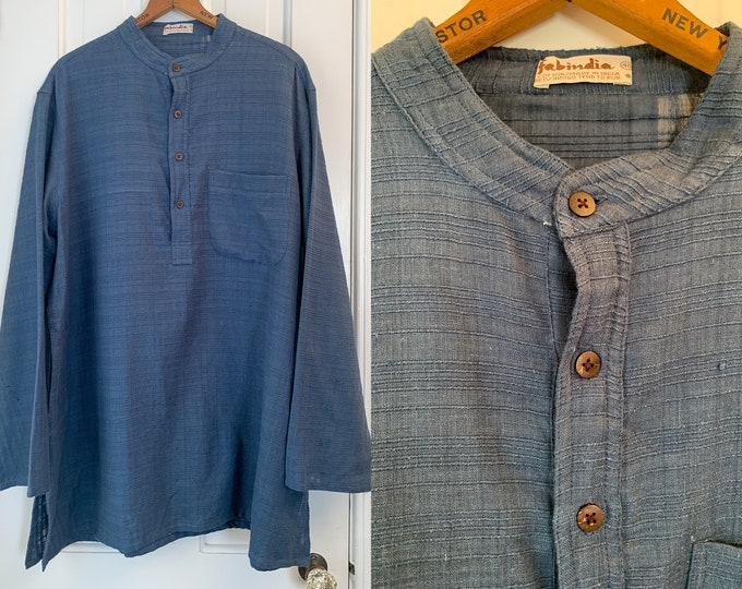 Vintage men's indigo blue tunic top with banded collar, global style shirt, hippie boho menswear, made by Fabindia, Size L/XL