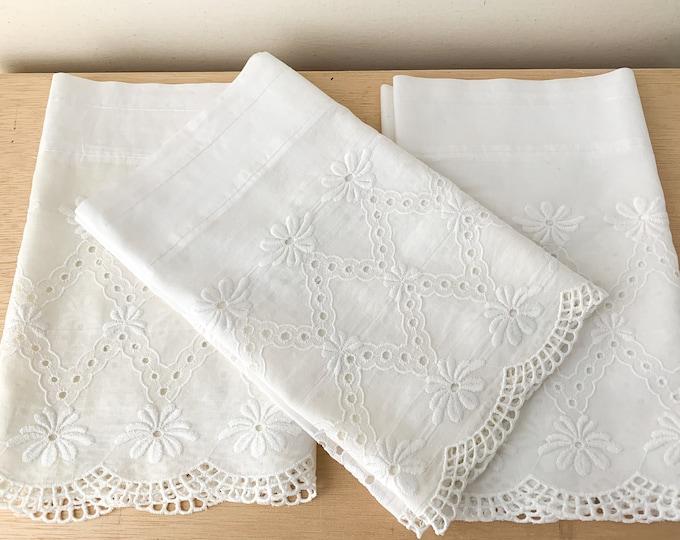 Vintage 3 piece white embroidered lace valance curtains, farmhouse decor