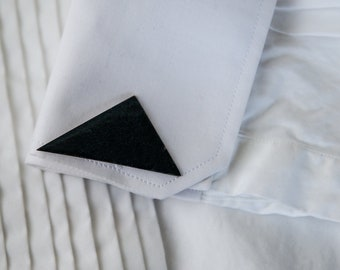 Vintage handmade off-set triangle cufflinks made in enamel over copper | mod geometric | midnight blue