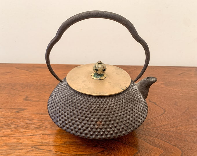 Vintage Japanese cast iron hobnail and brass teapot with articulate handle, tea ceremony kettle