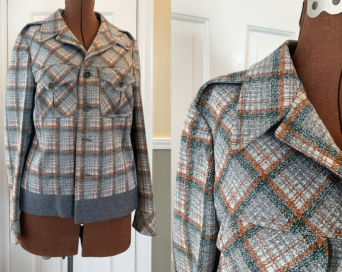 Vintage double knit plaid jacket, mod cropped jacket, menswear inspired blazer, made Expressly for Bonds, Size S