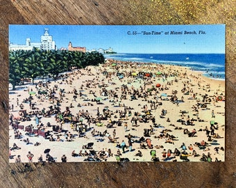 "Vintage 1940s Miami Beach Florida postcard C. 55 - ""Sun Time"", Dade County Newsdealers Supply Co."