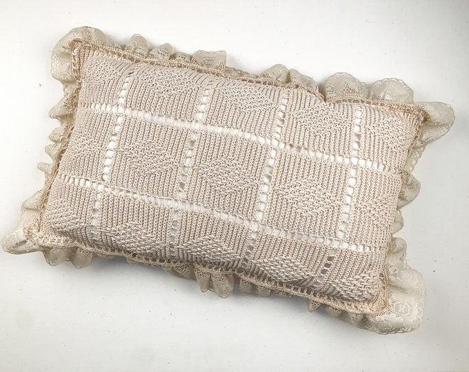 Vintage ornate cream colored lace & hand crocheted throw pillow | decorative bed pillow | farmhouse decor pillow
