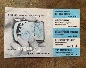 Authentic vintage 1950s Argus L3 Exposure Meter instruction manual and retainer chain