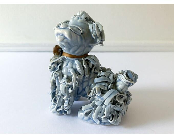 Vintage blue ceramic spaghetti sitting poodle figurine