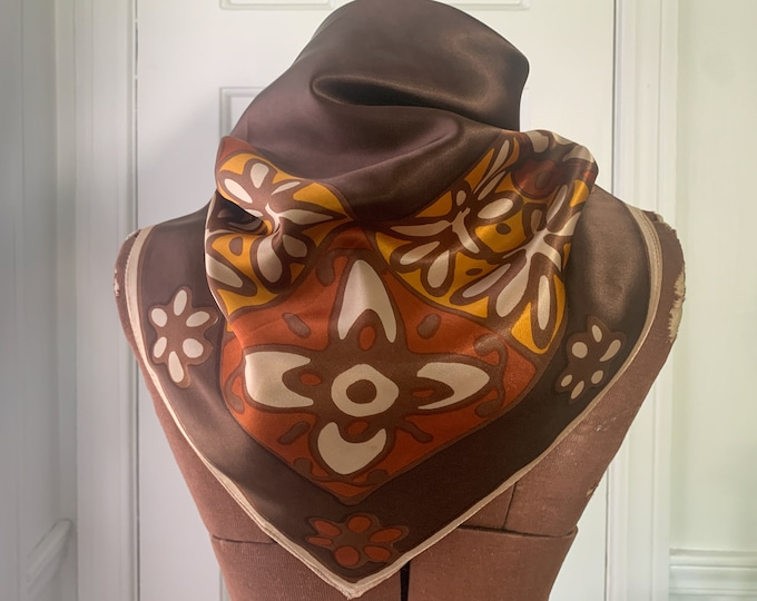 """Vintage 1970s mod floral scarf in brown, rust, gold and cream, 27"""" x 26"""""""
