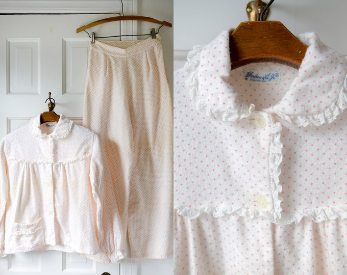 Vintage 50s pink polka dot flannel pajamas with high waisted wide legged bottoms, Barbara Lee Jr., Sz XS