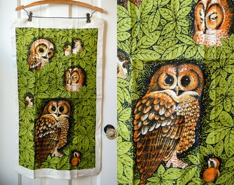 Vintage owl linen kitchen towel or tea towel, boho kitchen NOS