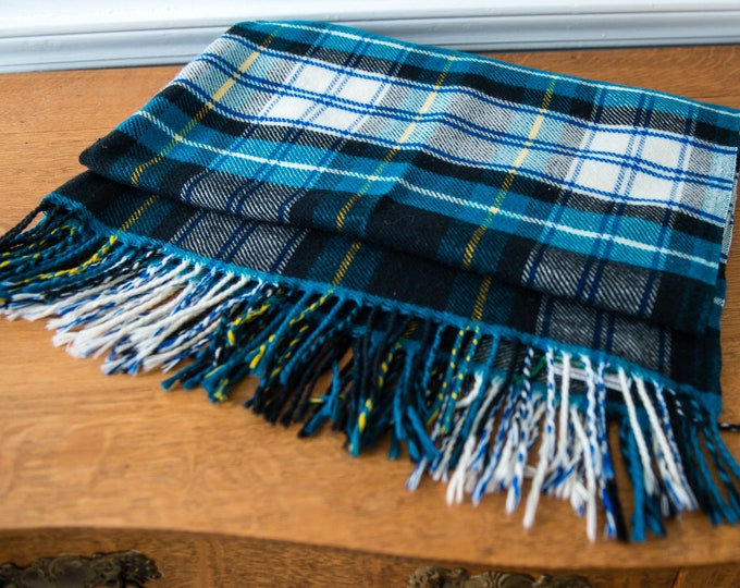 Vintage lambswool blue plaid throw or blanket scarf made in Switzerland by Curvon
