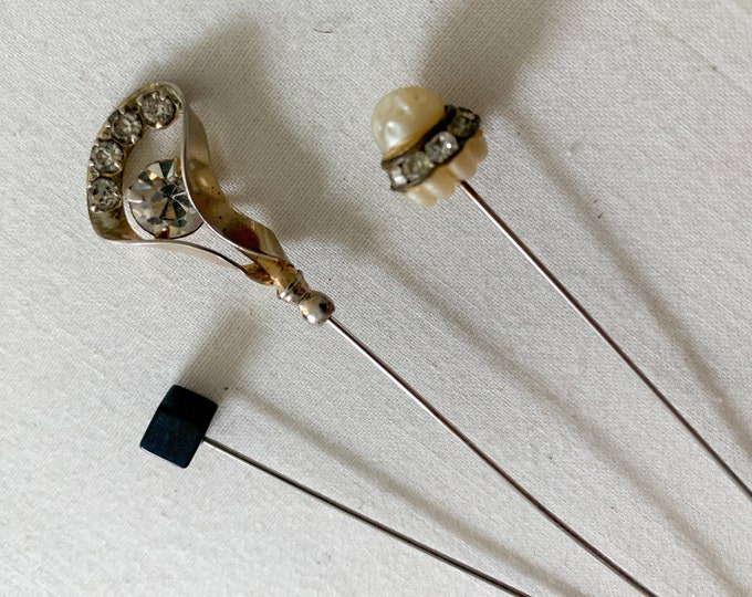 Vintage lot of 3 hat pins with rhinestones faux pearl Art Deco details