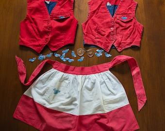 Vintage lot of 1950s or 60s Camp Fire Girls Blue Birds costume uniform pieces