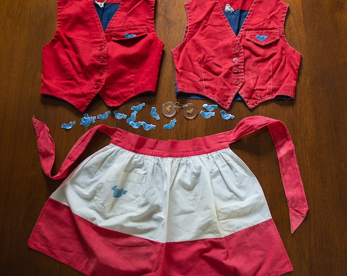 Collection of vintage 1950s or 60s Camp Fire Girls Blue Birds costume uniform pieces