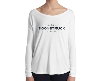 Ladies' relaxed long sleeve scoop neck t-shirt cozy chic, Moonstruck Vintage, Cleveland OH