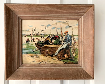 Small vintage painting of fisherman, seaman, nautical themed scene includes frame