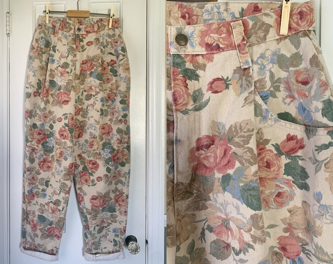 "Vintage 1980s high waisted pleated floral print jeans, 80s tapered trousers, made by French Navy, Size 28"" x 31"""