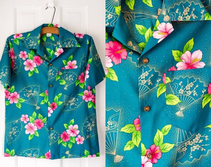 Vintage 1960s short sleeve teal blue Hawaiian luau shirt | made in Hawaii | Size S/M