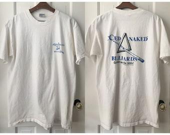 Vintage 90s Coed Naked Billiards T-shirt, single stitch hem, graphic t-shirt