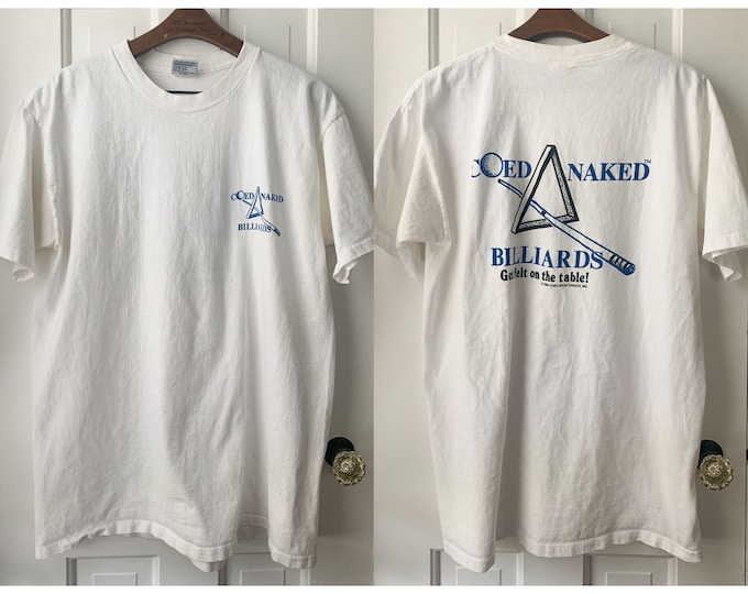 Vintage 90s Coed Naked Billiards T-shirt, single stitch hem, graphic t-shirt