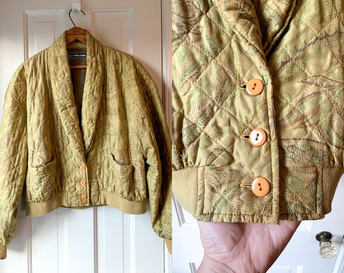 Vintage 1980s golden yellow silk quilted cropped jacket with shawl collar and ribbed waistband | Diane Gilman | Size XL