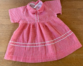 Vintage 1950s cotton red plaid baby girl's dress with rick rack trim, 50s baby doll dress, size 12-18 months