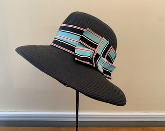 Vintage 1960s black straw hat with baby blue and black striped ribbon and bow detail, 60s wide brimmed hat, stylish church hat, Size S