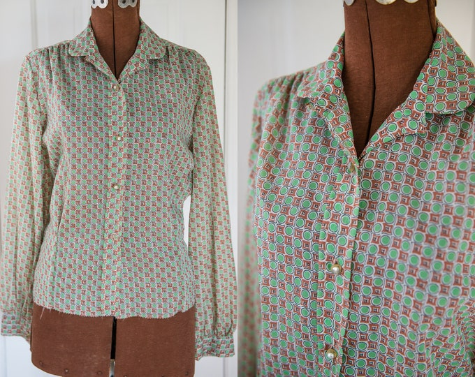 Vintage Sz M 40s 50s green & brown nylon long sleeve blouse with rhinestone buttons