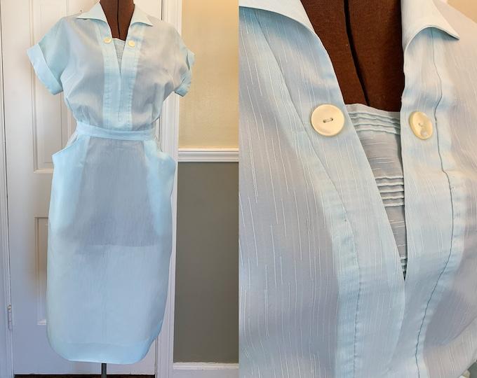 Vintage 1950s baby blue short sleeved waitress uniform dress | blue workwear dress | Colette | Size XS