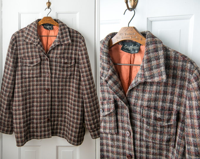 Vintage wool blazer or shirt jacket in brown and gray plaid Size L/XL