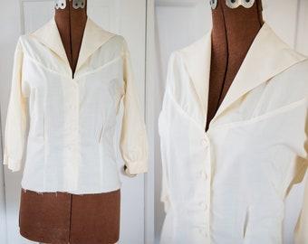 Vintage Sz S 50s cream color cotton blouse with 3/4 sleeve, Judy Bond