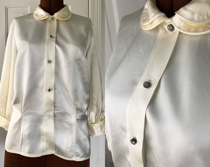 Vintage Jo-Lynn 1950s cream color satin blouse with Peter Pan collar and rhinestone buttons, Size L