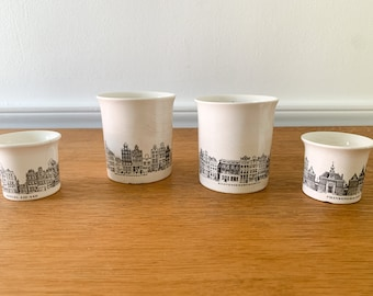 Vintage 4 piece Villeroy & Boch handleless cups, cigarette holder, match holder, egg cup, Amsterdam canals architecture design