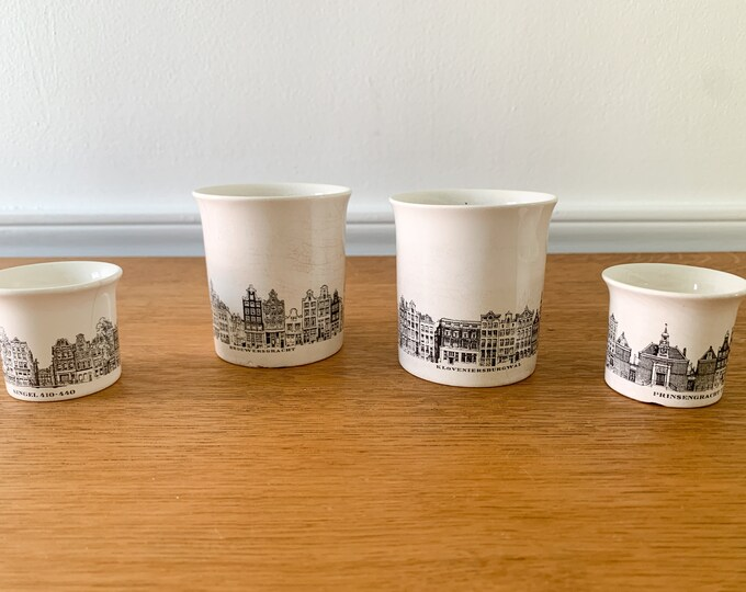 Vintage 4 piece Villeroy & Boch handleless cups, cigarette holder, match holder, egg cup, Amsterdam canals architecture design