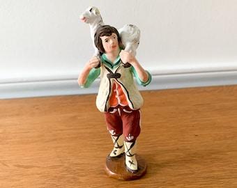 Vintage Italian hand-painted shepherd and sheep figurine, farmhouse decor, made in Napoli