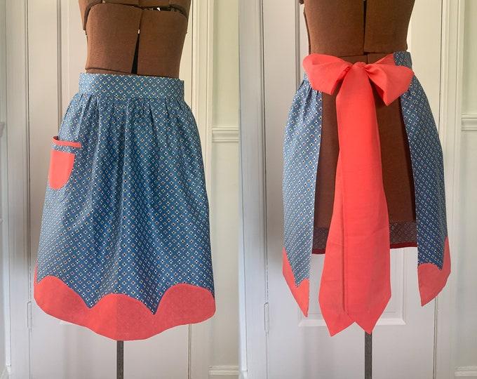 Vintage blue and dark peach half apron with geometric print and scalloped hem, hostess apron, MCM apron
