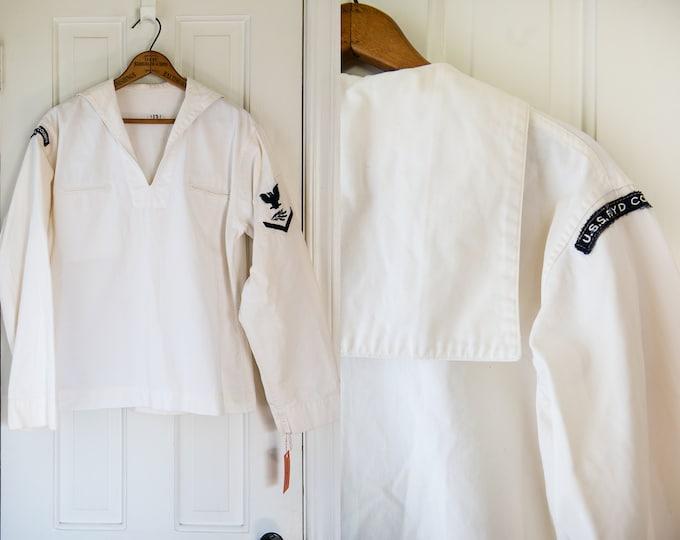 Authentic vintage US Naval uniform top with original patches | U.S.S. Floyd County | Size L