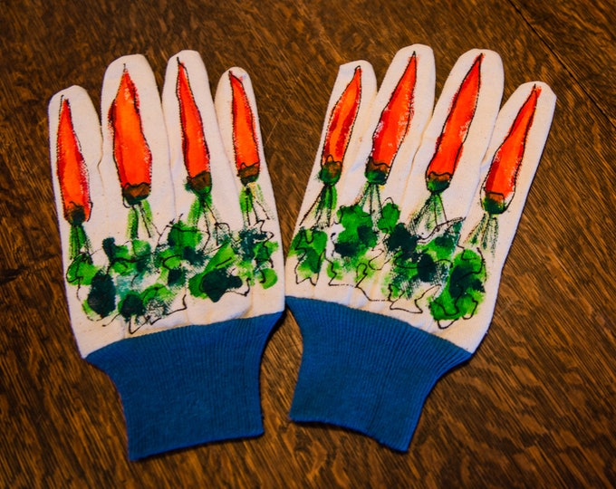 Hand painted canvas garden gloves work gloves with carrot motif | size L/XL