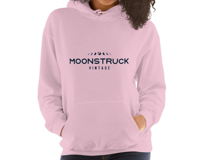 Unisex Hoodie sweatshirt with front pouch pocket in blue pink or gray, Moonstruck Vintage, Cleveland OH
