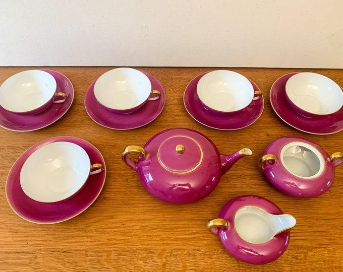 Vintage Porzellanfabrik Jaeger & Co pink tea set - 14 pieces, German tea set, fine china marked Bavaria